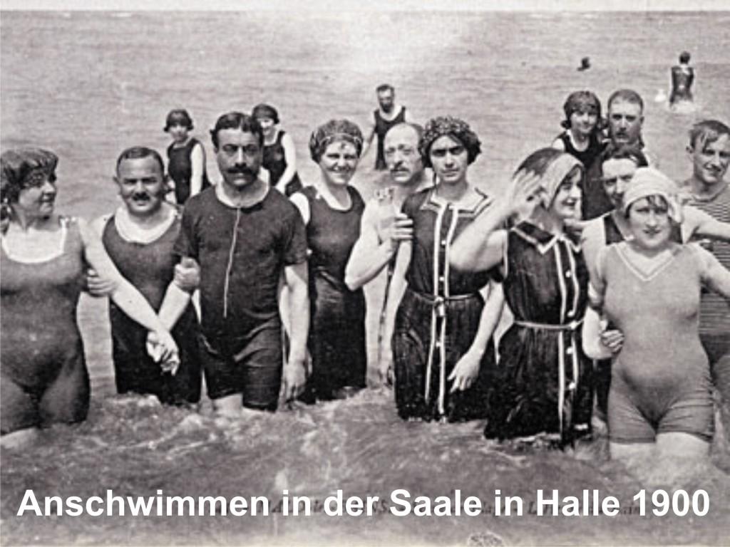 Anschwimmen in der Saale 1900